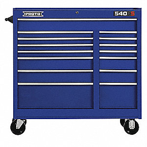 "Blue Heavy Duty Rolling Cabinet, 42"" H X 41"" W X 18"" D, Number of Drawers: 15"