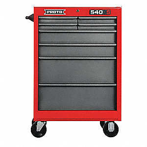 "Red Heavy Duty Rolling Cabinet, 42"" H X 27"" W X 18"" D, Number of Drawers: 8"
