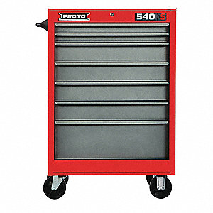 "Red Heavy Duty Rolling Cabinet, 42"" H X 27"" W X 18"" D, Number of Drawers: 7"