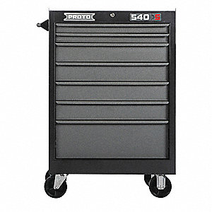"Black Heavy Duty Rolling Cabinet, 42"" H X 27"" W X 18"" D, Number of Drawers: 7"