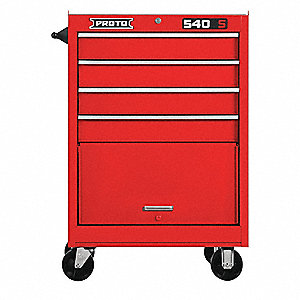 "Red Heavy Duty Rolling Cabinet, 42"" H X 27"" W X 18"" D, Number of Drawers: 4"