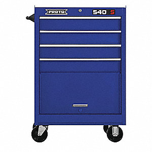 "Blue Heavy Duty Rolling Cabinet, 42"" H X 27"" W X 18"" D, Number of Drawers: 4"