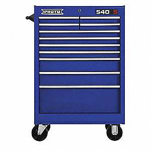 "Blue Heavy Duty Rolling Cabinet, 42"" H X 27"" W X 18"" D, Number of Drawers: 11"