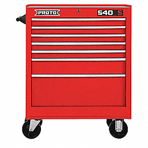 "Red Heavy Duty Rolling Cabinet, 35"" H X 27"" W X 18"" D, Number of Drawers: 7"