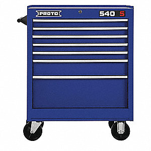 "Blue Heavy Duty Rolling Cabinet, 35"" H X 27"" W X 18"" D, Number of Drawers: 7"