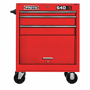 "Red Heavy Duty Rolling Cabinet, 35"" H X 27"" W X 18"" D, Number of Drawers: 3"