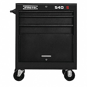 "Black Heavy Duty Rolling Cabinet, 35"" H X 27"" W X 18"" D, Number of Drawers: 3"