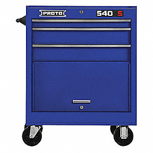 "Blue Heavy Duty Rolling Cabinet, 35"" H X 27"" W X 18"" D, Number of Drawers: 3"