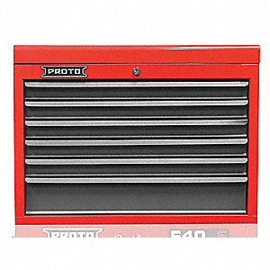 "Red Heavy Duty Top Chest, 19"" H X 27"" W X 18"" D, Number of Drawers: 6"