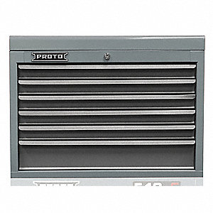 "Gray Heavy Duty Top Chest, 19"" H X 27"" W X 18"" D, Number of Drawers: 6"