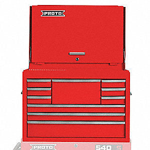 "Red Heavy Duty Top Chest, 19"" H X 27"" W X 18"" D, Number of Drawers: 10"