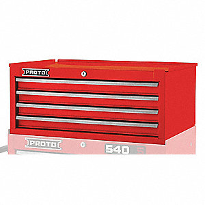 "Red Heavy Duty Intermediate Chest, 10"" H X 27"" W X 18"" D, Number of Drawers: 4"