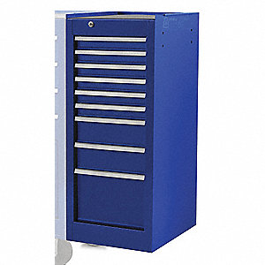 Side Cabinet,Blue,15 in. W,9 Drawers