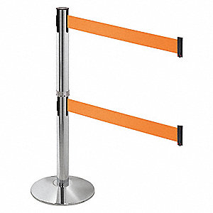 Barrier Post,3 in. Belt W,Orange Belt