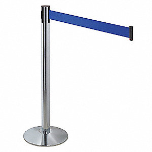 Barrier Post,Gray,Blue Belt,3 in. Belt W