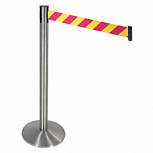 Barrier Post,Gray,Magenta/Yl Belt,Sloped