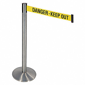 Barrier Post,10ft Belt L,Danger Keep Out
