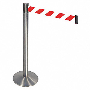 Barrier Post,Red/White Belt,3 in. Belt W