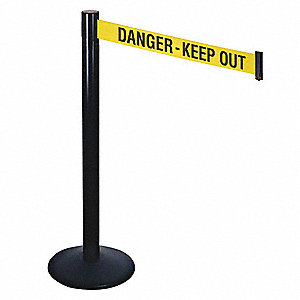 Barrier Post,Black,Ylw/Blk Text,40 in. H