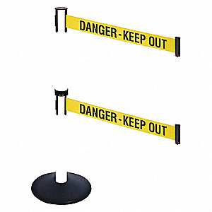 Barrier Post,Black,Yellow/Black Text