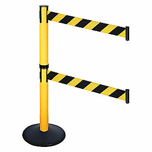 Barrier Post,40 in. H,Black/Yellow Belt