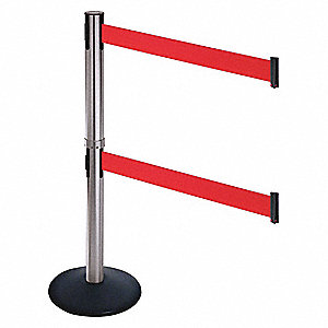 Barrier Post,SS Post,Blk,Red Belt,40in H