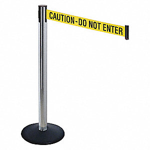 Barrier Post,Ylw/Blk Txt,14 in. Base dia