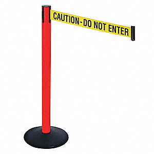 Barrier Post,40 in. H,Yellow/Black Text