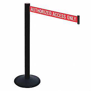 Barrier Post,40in. H,Red/White Belt Text