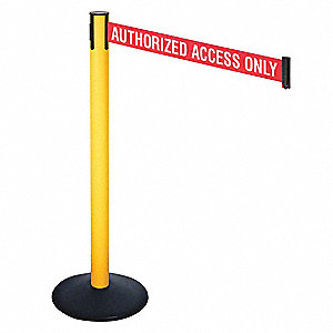 Barrier Post,Red/White Belt Text,40in. H