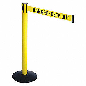 Barrier Post,Ylw/Black Text,3 in. Belt W