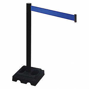 Barrier Post,Blk,Blue Belt,10 ft. Belt L