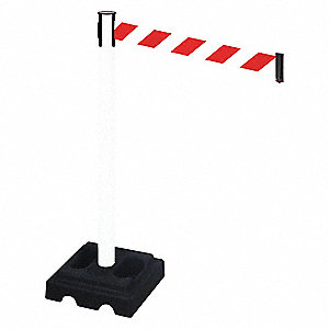 Barrier Post,Black Post,Red/White Belt