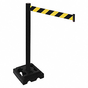 Barrier Post,Black/Yellow Belt,40 in. H