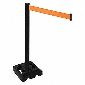 Barrier Post,Blk,Orange Belt,10ft Belt L