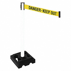 Barrier Post,Black,Ylw/Black Text,HDPE