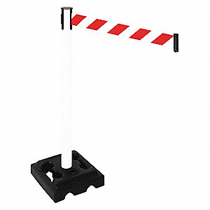Barrier Post,Black,Red/White Belt,HDPE