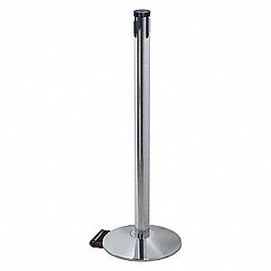 "Belt Barrier Receiver Post, Aluminum Post Material, Sloped Base Type, 40"" Height"