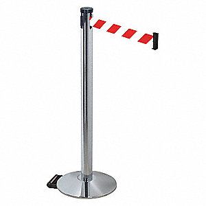Barrier Post,Gray,Red/White Belt,40in. H