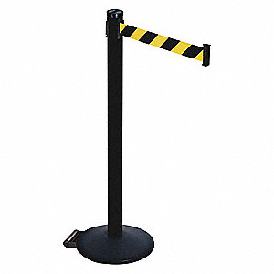Barrier Post,Black/Ylw Belt,2 in. Belt W