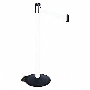 Barrier Post,PVC Post,Black,White Belt