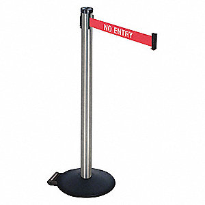 Barrier Post,40inH,2 in. Belt W,No Entry