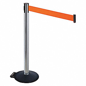 Barrier Post,Blk,w/Wheels,10 ft. Belt L