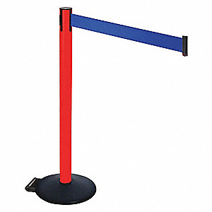 Barrier Post,PVC Post,Blue Belt,w/Wheels