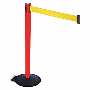 Barrier Post,PVC Post,Ylw Belt,w/Wheels