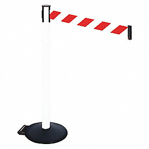 Barrier Post,Red/White Belt,w/Wheels