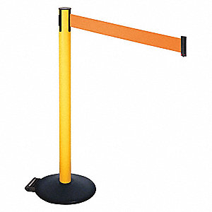 Barrier Post,PVC Post,Black,Orange Belt