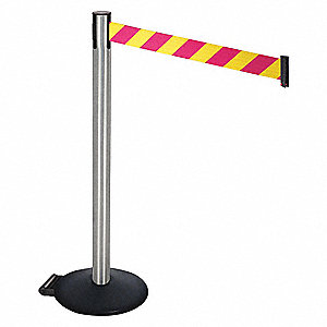 Barrier Post,Satin SS,Black,w/Wheels