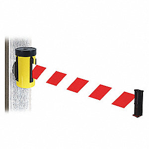 Retractable Belt Barrier, Red and White Diagonal Striped, None