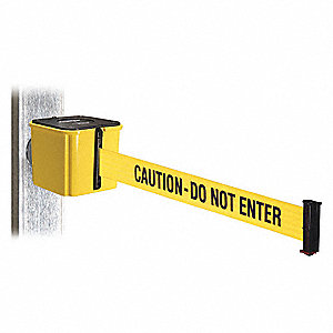 Retractable Belt Barrier, Yellow with Black Text, Caution - Do Not Enter